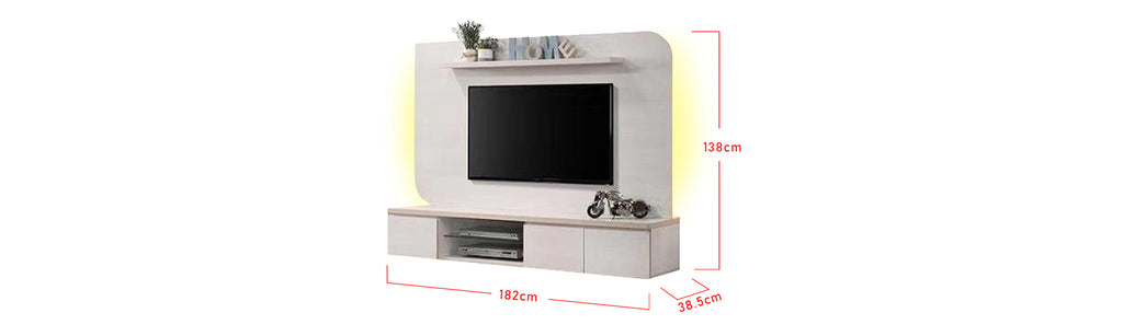 Kelsey 6 Ft. Wall Mounted TV Console With Backlight