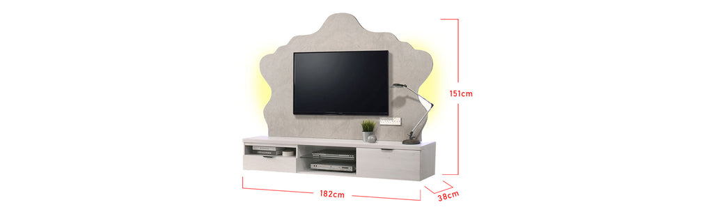 Kendall 6 Ft. Wall Mounted TV Console With Backlight