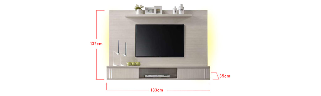 Kenna 6 Ft. White Wall Mounted TV Console With Backlight
