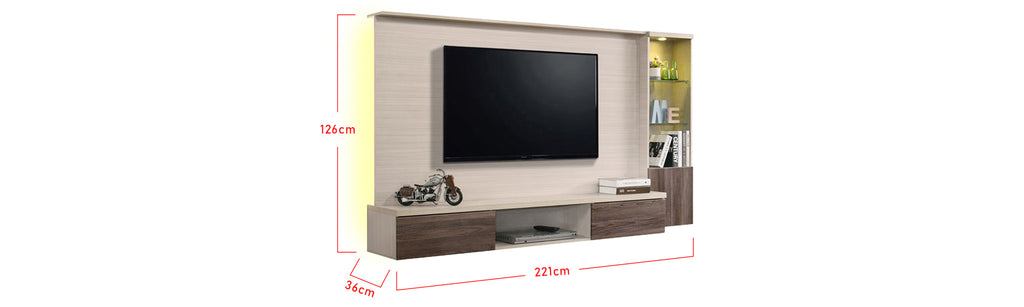 Kenzie 7 Ft. Wall Mounted TV Console With Backlight