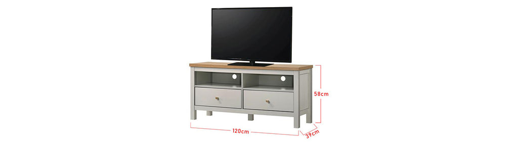 Kenzie Series 4 Ft. TV Console In White/ Natural