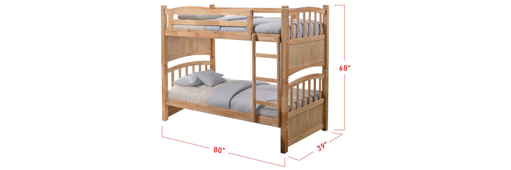 Konka Series Wooden Bunk Bed Frame Natural In Single Size