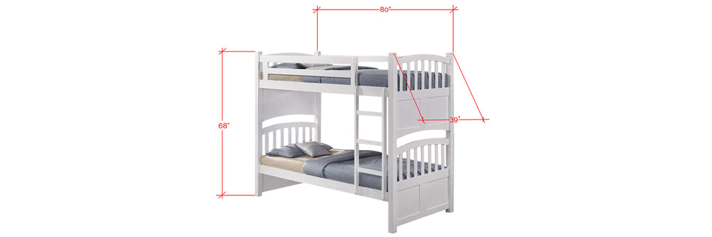 Konka Series 2 Wooden Bunk Bed Frame White In Single Size