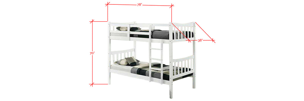 Konka Series 3 Wooden Bunk Bed Frame White In Single Size