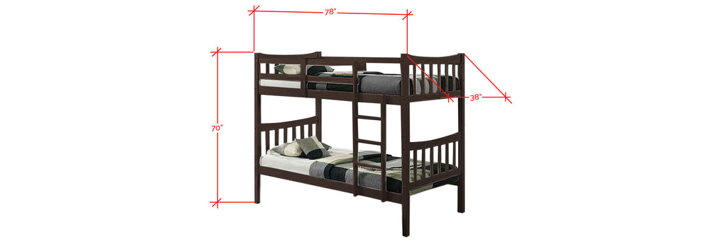 Konka Series 4 Wooden Bunk Bed Frame Wenge In Single Size