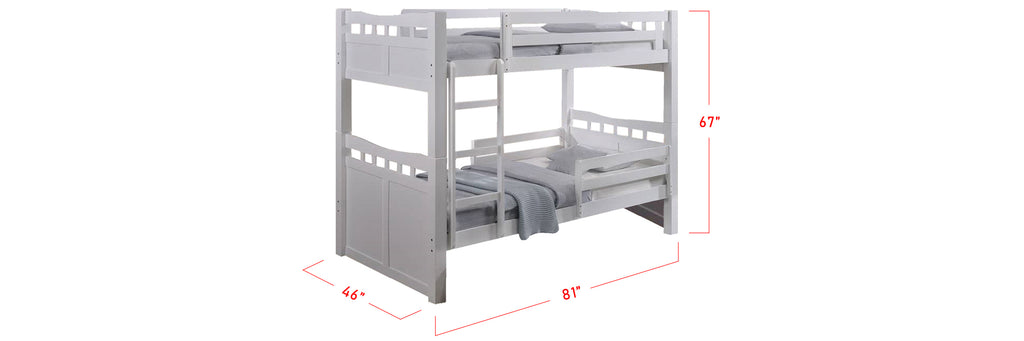 Konka Series 4 Wooden Bunk Bed Frame White In Super Single Size