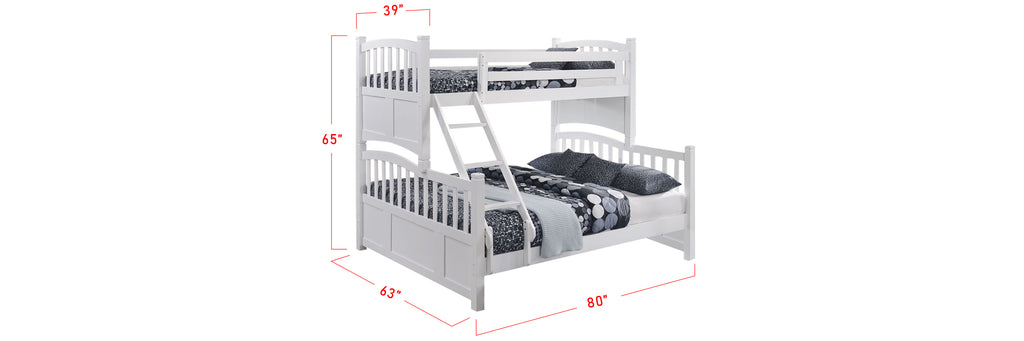 Konka Series 6 Wooden Bunk Bed Frame White In Single and Queen Size