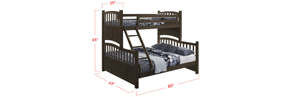 Konka Series 7 Wooden Bunk Bed Frame Wenge In Single and Queen Size