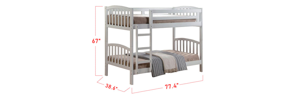 Konka Series 8 Wooden Bunk Bed Frame White In Super Single Size