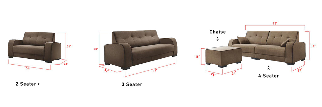 Kyra 234 Seater L Shaped Sofa Set with Chaise In 4 Colors
