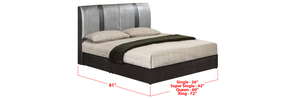 Lachlan Faux Leather Bed Frame Black  Grey In Single, Super Single, Queen, and King Size