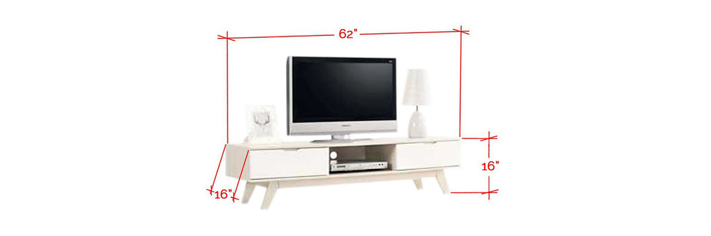 Laese 5 Feet Wooden TV Console Cabinet In White