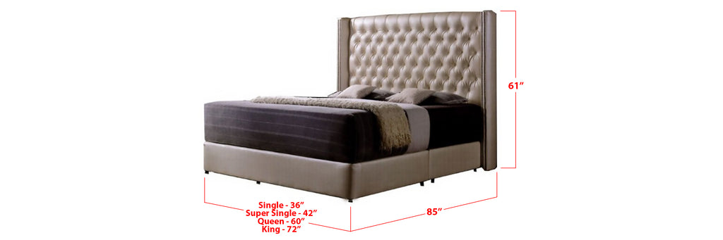 Lainey Faux Leather Bed Frame Beige In Single, Super Single, Queen, and King Size