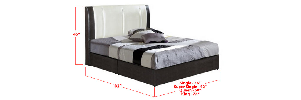 Lalu Faux Leather Bed Frame Black  White In Single, Super Single, Queen, and King Size