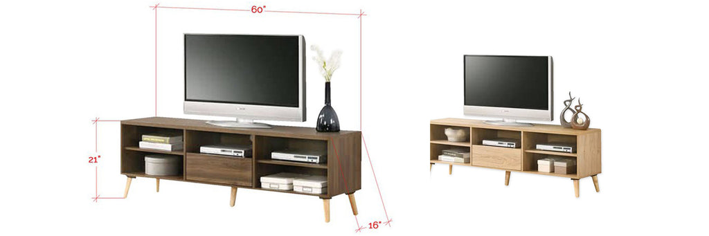 Latisha 5 Feet Wooden TV Console Cabinet In Brown and Natural