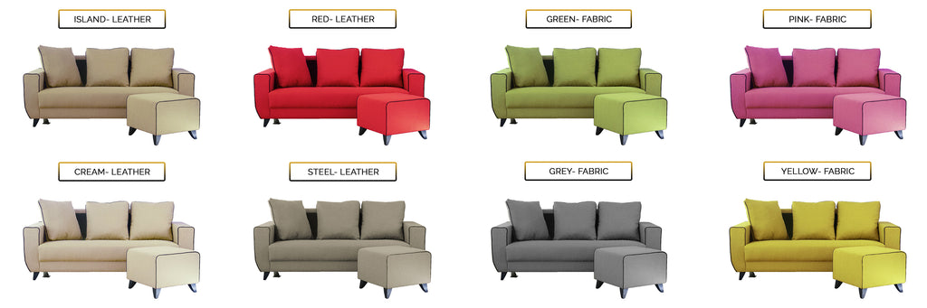 Ruru Series 2/3 Seater Leather Sofa With Ottoman In 8 Colours