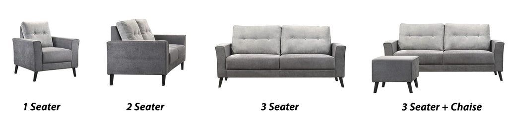 Lucielle 1/2/3 Seater Faux Leather Sofa With Ottoman In 4 Colours