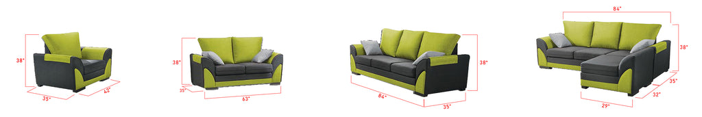 Lylah 123 Seater Fabric Sofa With Chaise