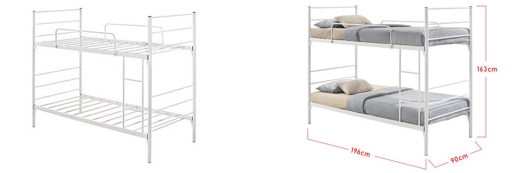 Maggie Series Metal Bunk Bed Frame With Mattress In Single Size