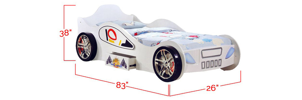 Marc Series 2 Children Race Car Bed White In Single Size