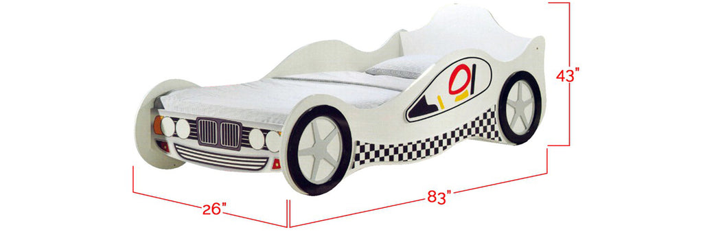 Marc Series Children Race Car Bed White In Single Size