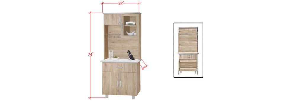 Mica Series 1 Tall Kitchen Cabinet In Natural