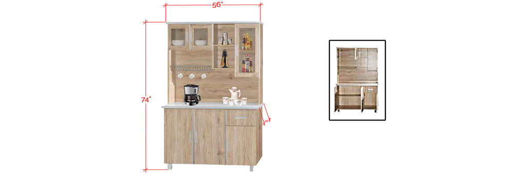 Mica Series 2 Tall Kitchen Cabinet In Natural