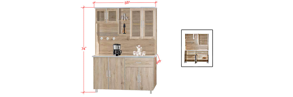 Mica Series 3 Tall Kitchen Cabinet In Natural