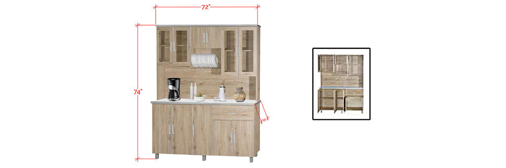 Mica Series 4 Tall Kitchen Cabinet In Natural