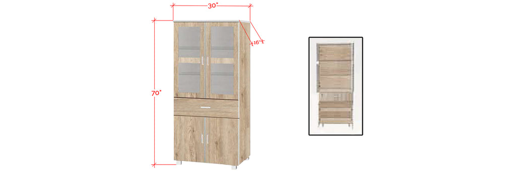 Mica Series 7 Tall Kitchen Cabinet In Natural