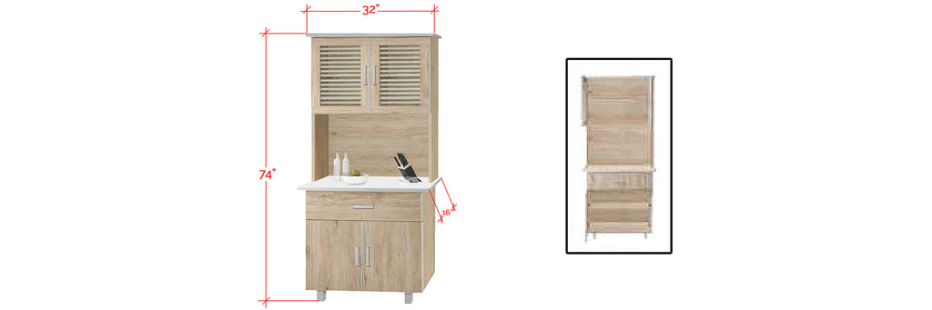 Mica Series 8 Tall Kitchen Cabinet In Natural