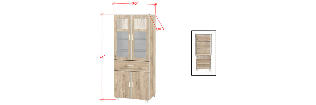 Mica Series 9 Tall Kitchen Cabinet In Natural