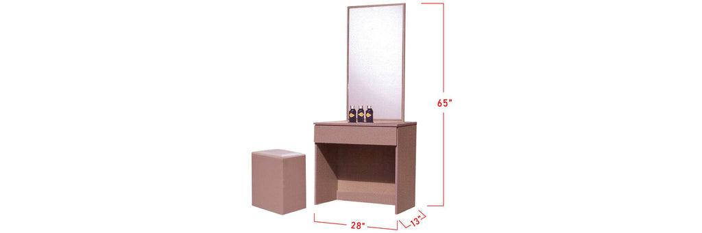 Minna Series 10 Makeup Dressing Table With Stool In Pink
