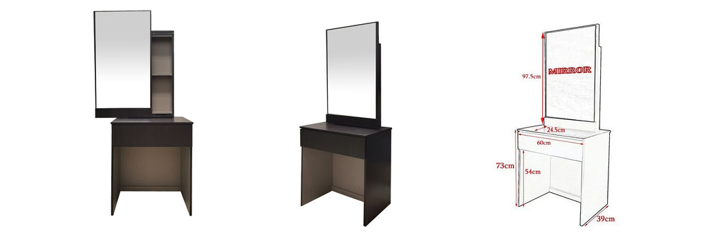 Minna Series 3 Makeup Dressing Table With Stool In Walnut