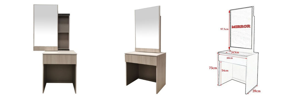 Minna Series 4 Makeup Dressing Table With Stool In White Wash