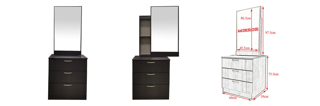 Minna Series 5 Makeup Dressing Table With Stool In Walnut