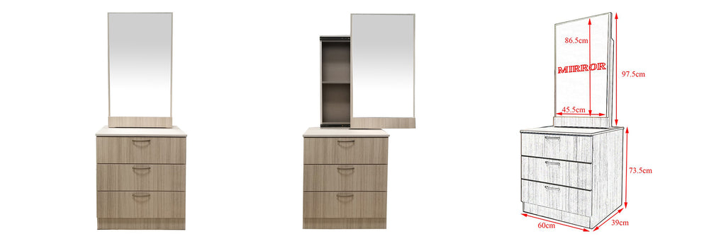 Minna Series 6 Makeup Dressing Table With Stool In White Wash