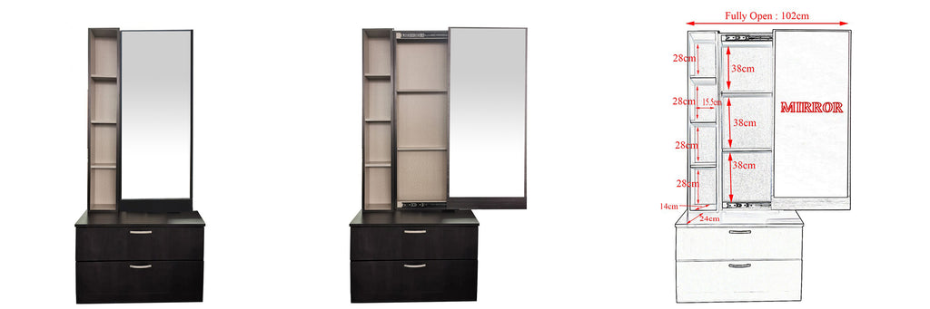 Minna Series 7 Makeup Dressing Table With Stool In Walnut