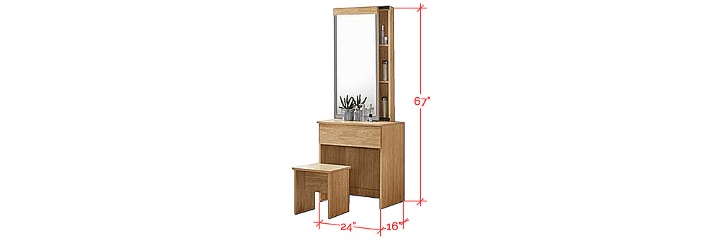 Minna Series 8 Makeup Dressing Table With Stool In Natural