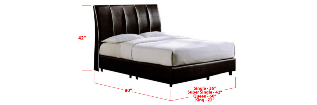 Naveen Faux Leather Bed Frame Black In Single, Super Single, Queen, and King Size