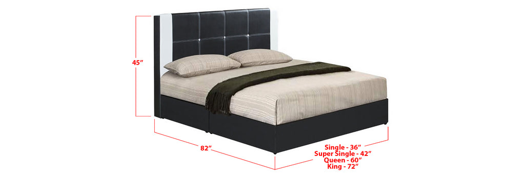 Neal Faux Leather Bed Frame Black In Single, Super Single, Queen, and King Size