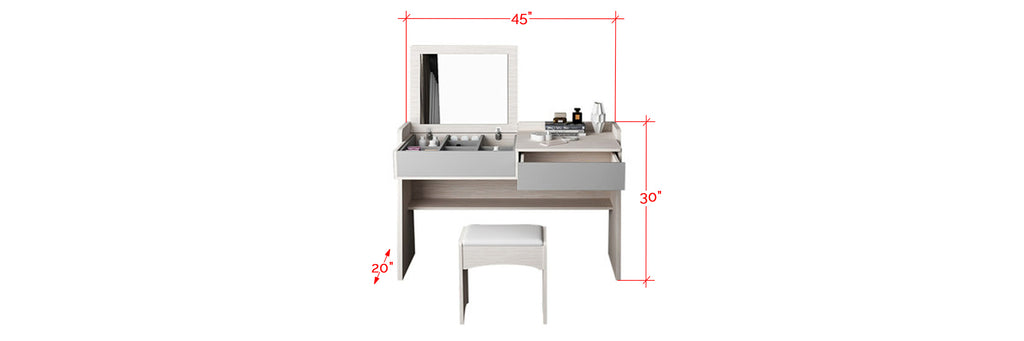 Neto Modern Dressing Table With Stool In White