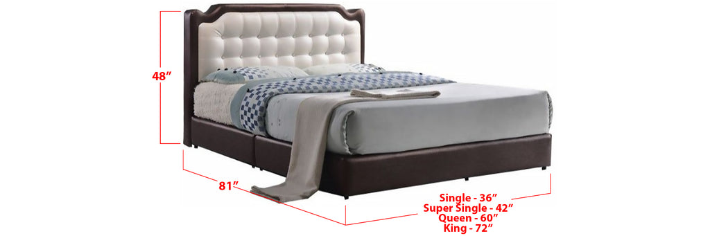 Nia Faux Leather Bed Frame Brown In Single, Super Single, Queen, and King Size