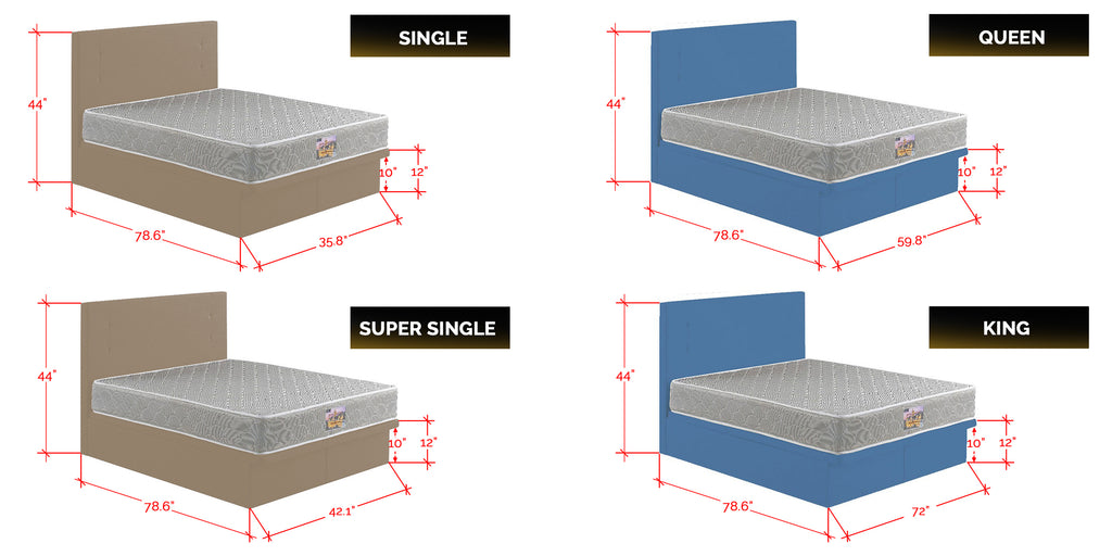 Nivie Series Fabric and  Leather Storage Divan In Single, Super Single, Queen, and King Size