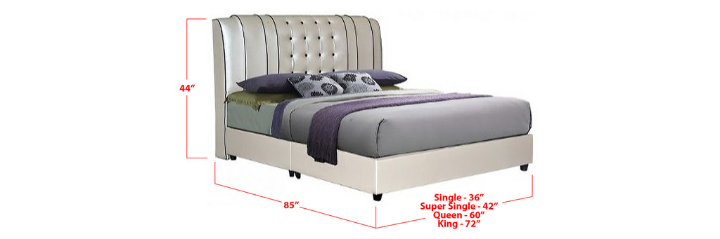 Nova Faux Leather Bed Frame Beige In Single, Super Single, Queen, and King Size