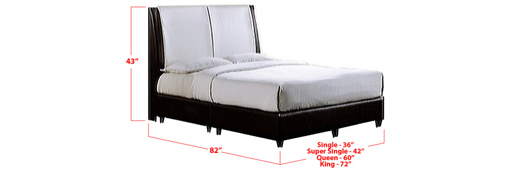 Nuri Faux Leather Bed Frame Black In Single, Super Single, Queen, and King Size
