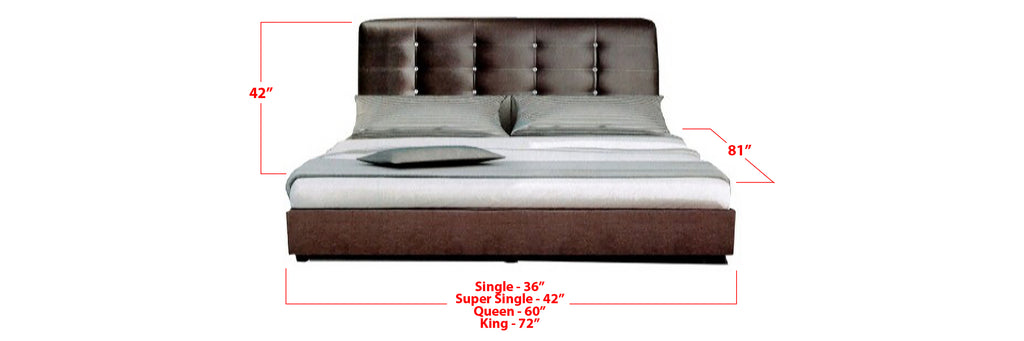 Ollie Faux Leather Bed Frame Dark Brown In Single, Super Single, Queen, and King Size