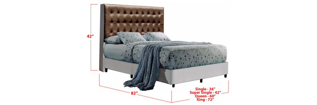 Ozzie Faux Leather Bed Frame Dark Brown/ White In Single, Super Single, Queen, and King Size