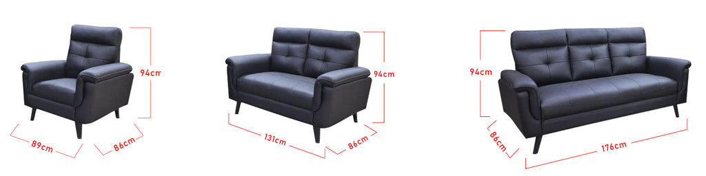 Paisley 1 2 3 Seater Half Genuine Cowhide Leather Sofa in 6 Colours