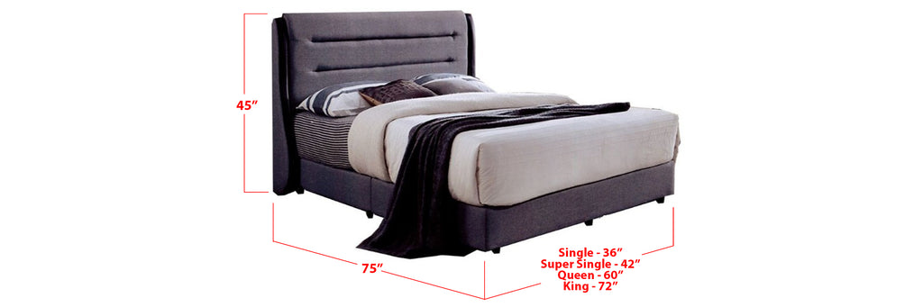 Pam Fabric Bed Frame Dark Grey In Single, Super Single, Queen, and King Size